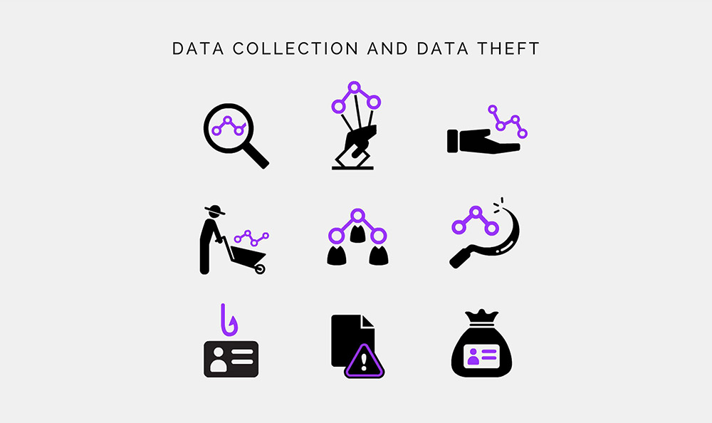 data collection and data harvesting icon set