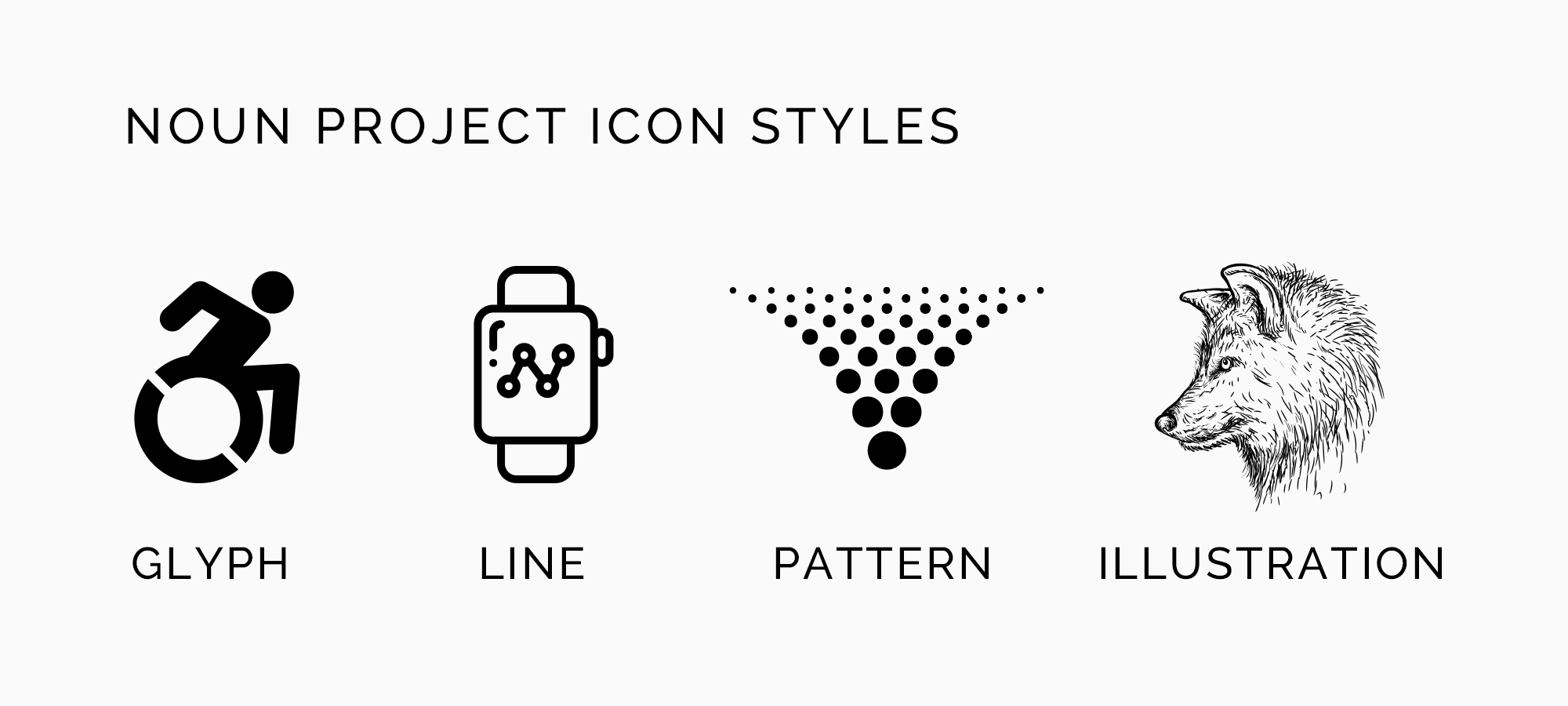 diverse icon styles of the noun project glyph line patterns illustration icons