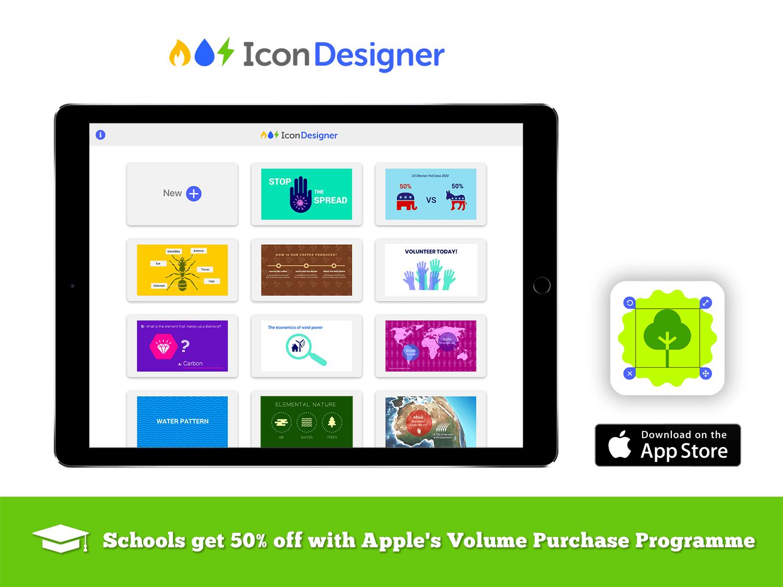 icon-designer-educational-infographics-app-for-schools-apple-volume-purchase-programme-ipad