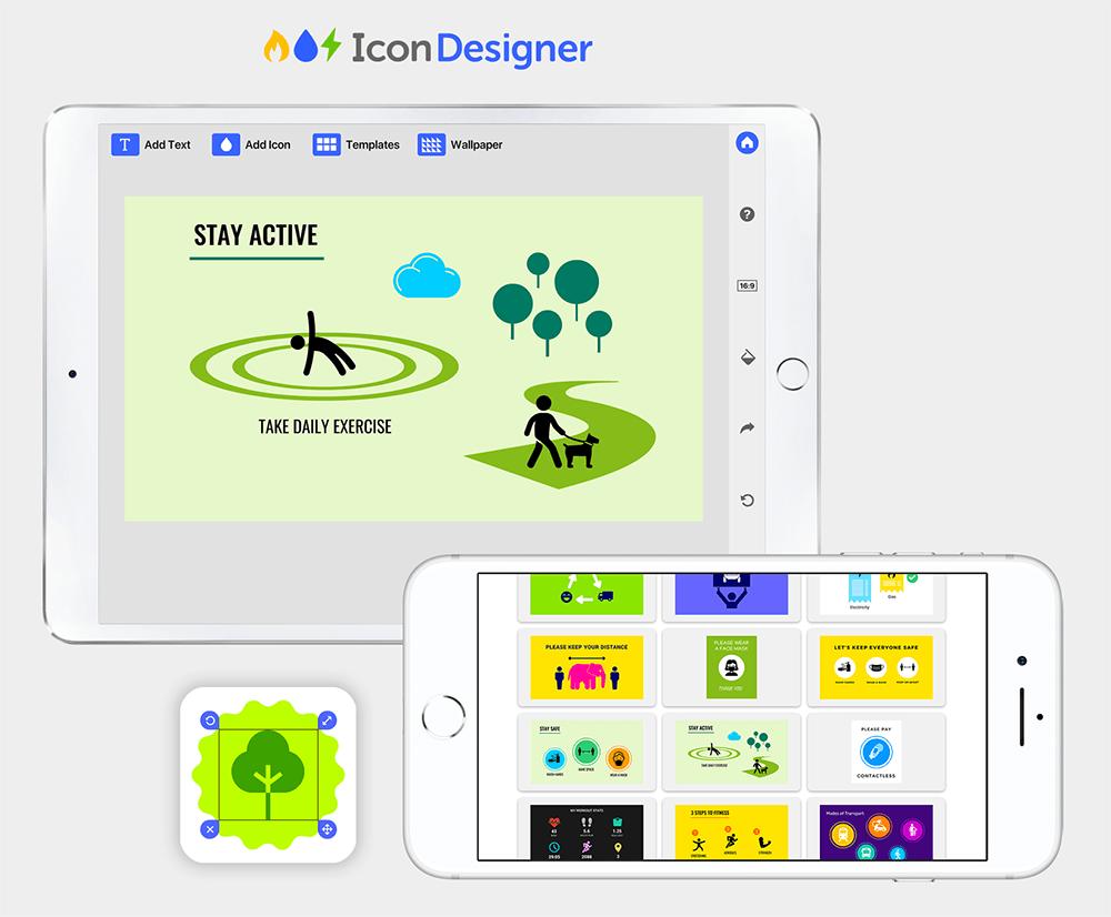 icon designer app promo for iPad and iPhone