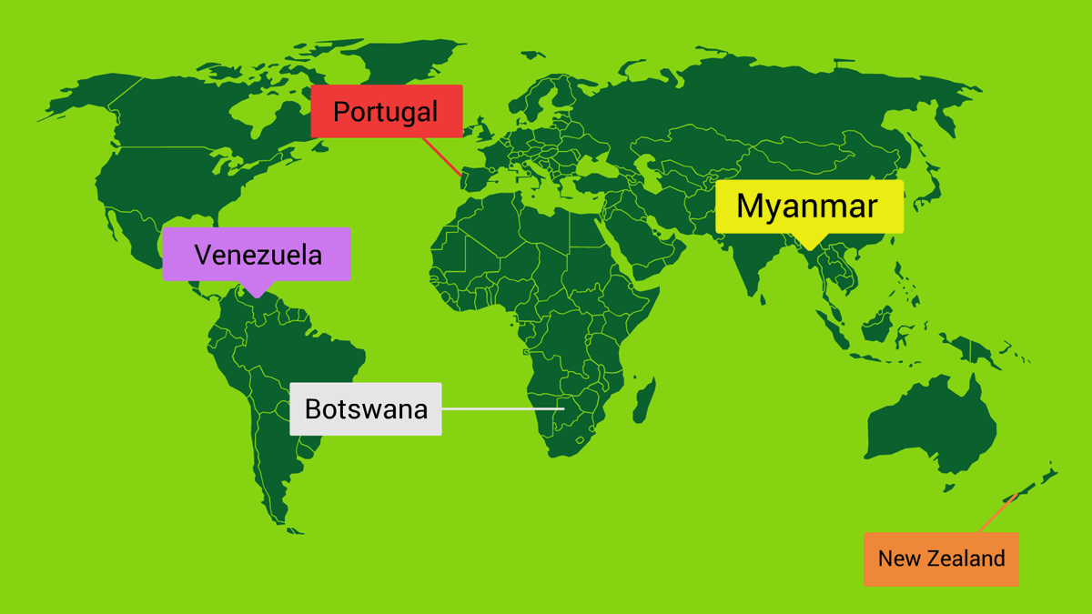 world map with labels template
