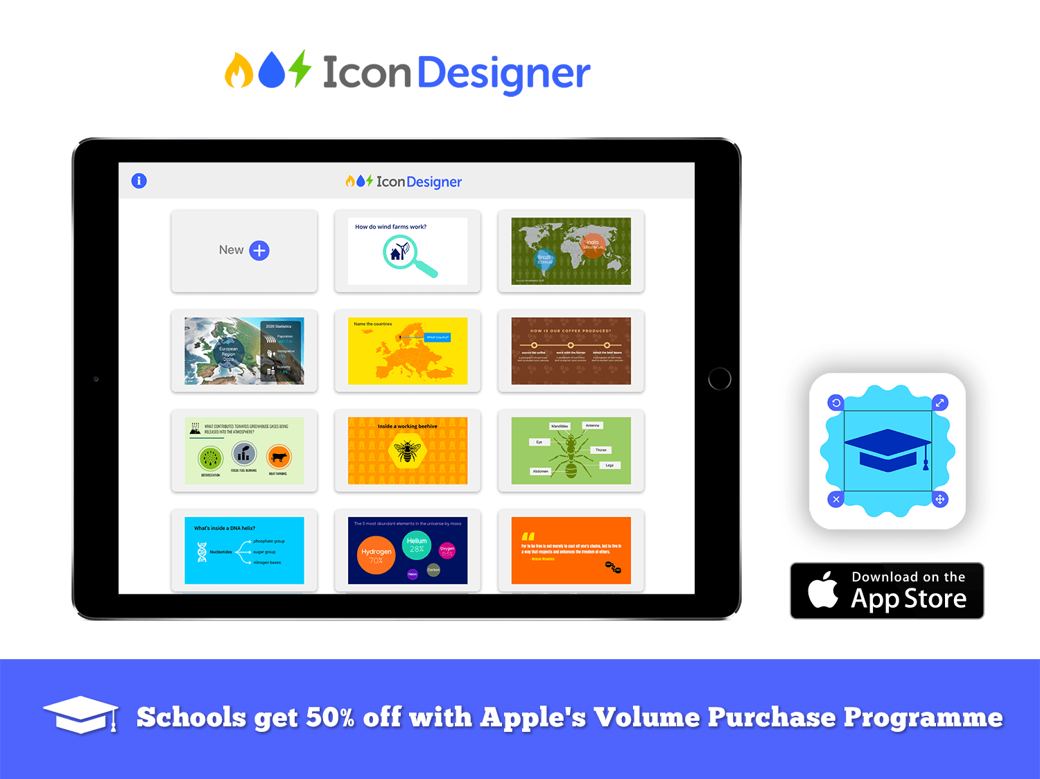 icon designer educational infographics graphics for teachers ipad app volume purchase discount for schools