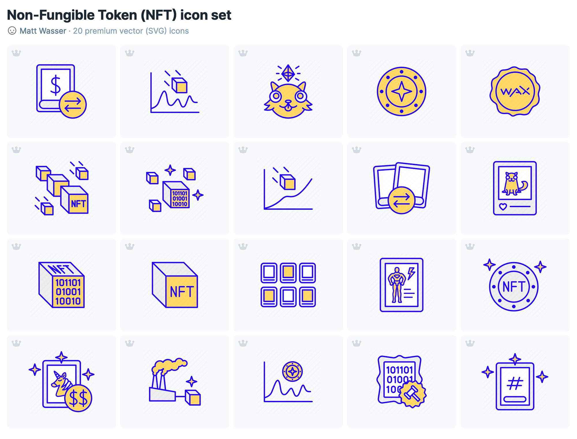 nft crypto icon set digital assets on blockchain